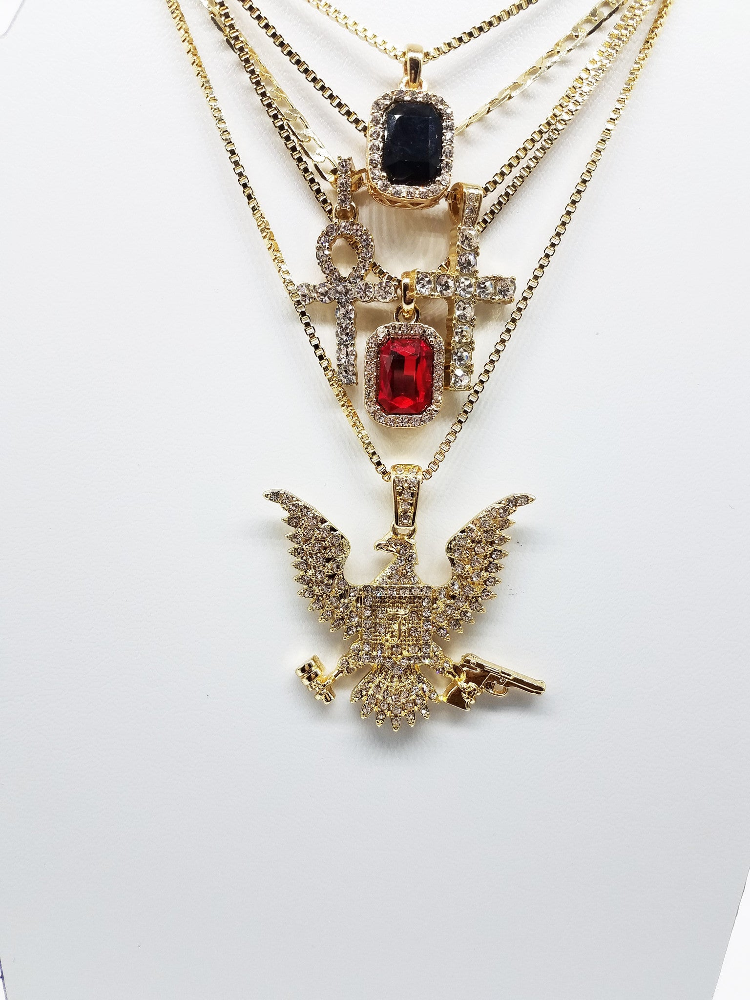 14K Gold Plated 5 Chain Combo:Iced Out Ruby Iced Out Black Gem Iced Out Cross Iced Out Ankh Iced Out FreeBandz Bird