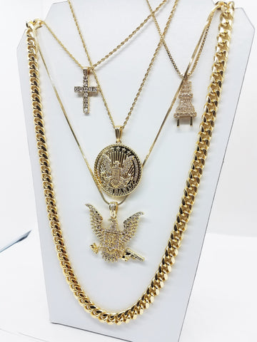 14k Gold Plated 5 Chain Combo Free Band Gang Bird And Circle Bird Iced Out Cross And Plug Chain