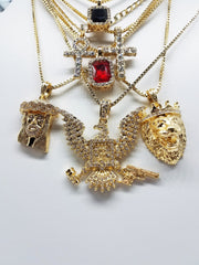 14K Gold Plated 7 Chain Combo: King Leo Iced Out Ruby Iced Out Black Gem Iced Out Cross Iced Out Ankh Iced Out Jesus And Iced Out FreeBandz Bird