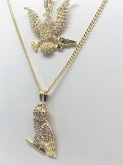 14K Gold Plated 2 Chain Combo: FreeBandz OvO Owl On 24 Inch Cuban And 30 inch Cuban Link
