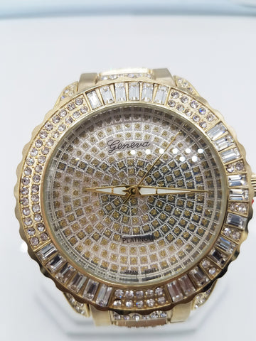 14K Gold Plated Fully Iced Out Big Face Watch