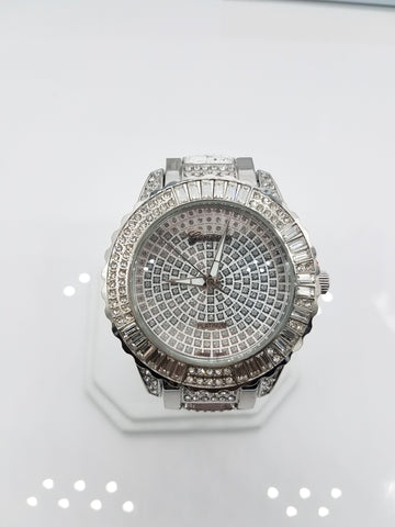Silver Plated Fully Iced Out Big Face Watch