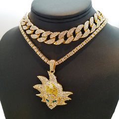 14k Gold Plated Iced Out Goku And Tennis Chain