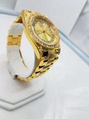 14K Gold Plated Iced Out Bezel Gold Face Watch