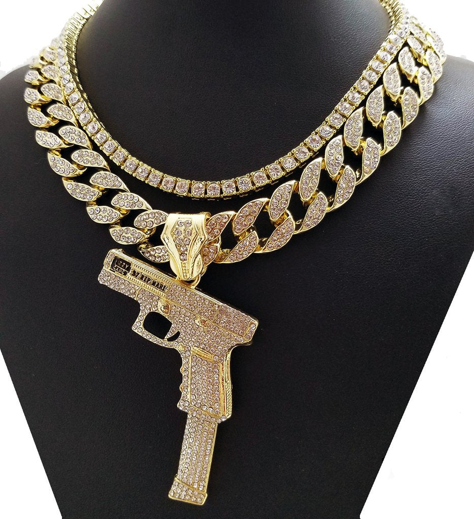 Icey Tennis Chain And Miami Cuban With 40 Glock
