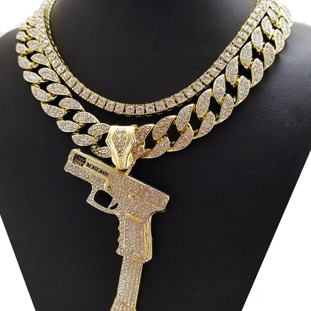 Iced Out Tennis Chain And Miami Cuban With 40 Glock