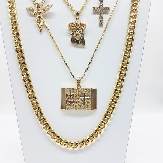 14K Gold Plated 5 Chain Holy Bible Iced Out Cross Cuban Crown Jesus Iced Out Angel And Miami Cuban