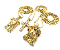 3 Chain Set: Iced Out Cross And Jesus's