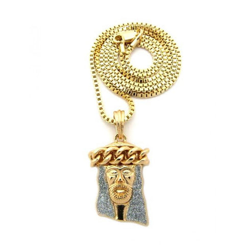 Cuban Crown Iced Out Jesus With 24 Inch Box Chain