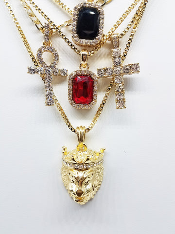 14k Gold Plated 5 Chain Combo: Icey Black Gem Icey Ankh King Leo Icey Cross Red Ruby