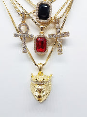 14k Gold Plated 5 Chain Combo: Iced Out Black Gem Iced Out Ankh King Leo Iced Out Cross Red Ruby