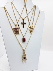 14k Gold Plated 5 Chain Red Combo Iced Out Cross Jesus Plug Red Ruby Red Angel