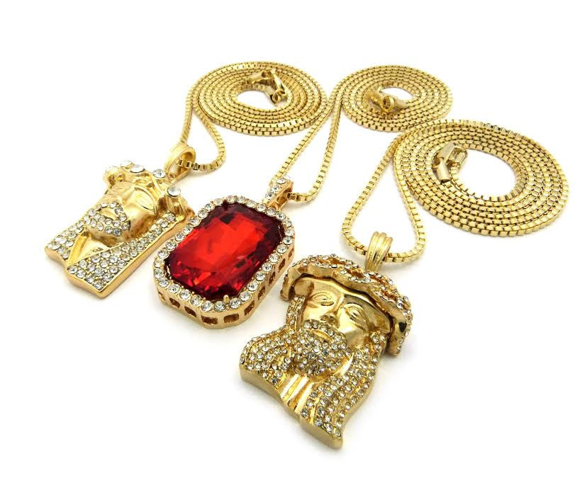 3 Chain Set: Iced Out Ruby And 2 Jesus