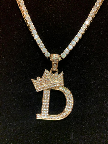 14K Iced Out Letter Pendant On Tennis Chain