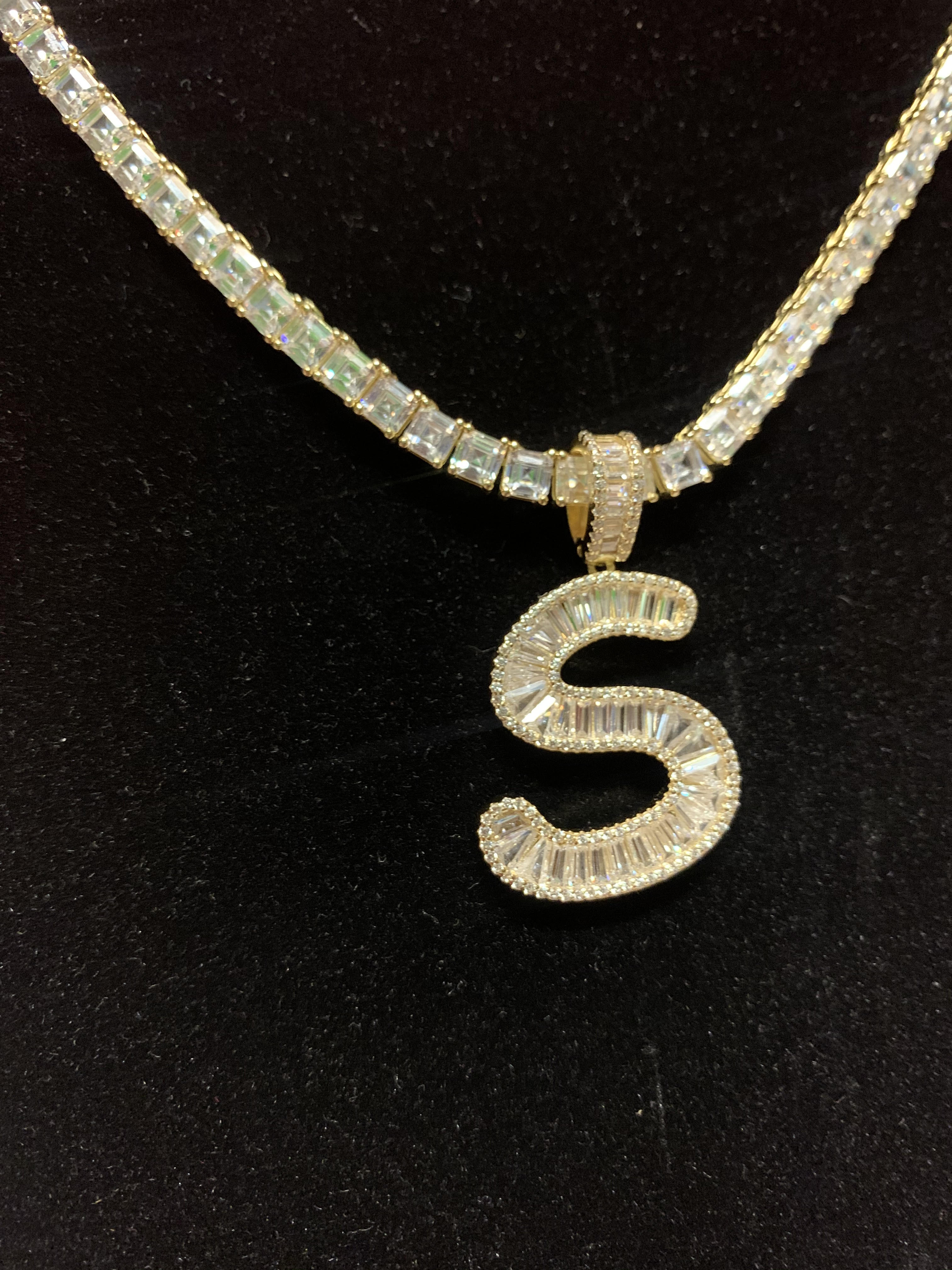 14k Silver Dipped In Gold High Quality Baguette Letters And Tennis Chain