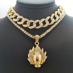 14k Iced Out Vegeta Choker And Cuban Link