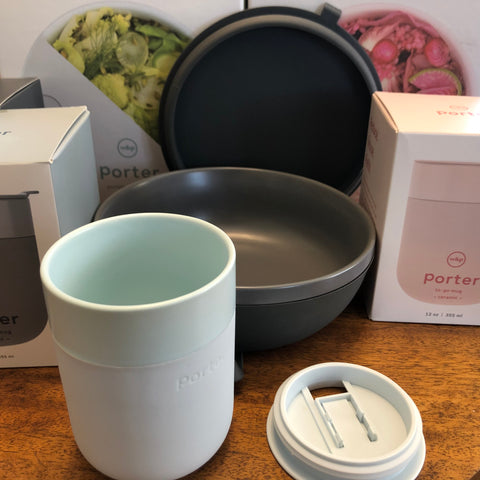 w&p ceramic mugs and food containers with silicon sleeves