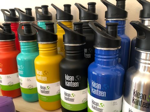 klean kanteen 18oz and 27oz stainless steel water bottles