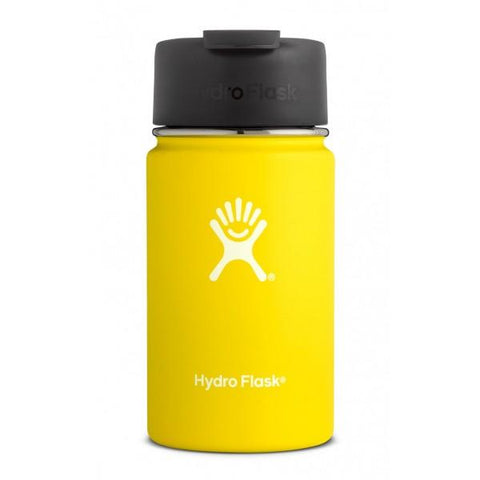 lemon 12 oz wide mouth hydro flask bottle keeps liquids cold for up to 24 hours and hot up to 6. bpa-free