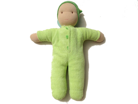babylonia's peppa organic cotton cuddle doll is stuffed with lamb's wool. The turquoise fair trade doll's name is Matty.