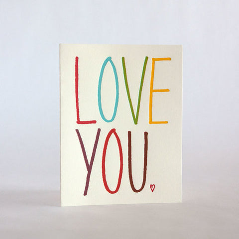 fugu fugu press love you rainbow 100 letterpress card printed on recycled paper. inside of the card is blank. made in the usa