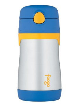 thermos foogo stainless steel straw bottle 10oz blue is vacuum insulated to keep beverages cool for up to ten hours