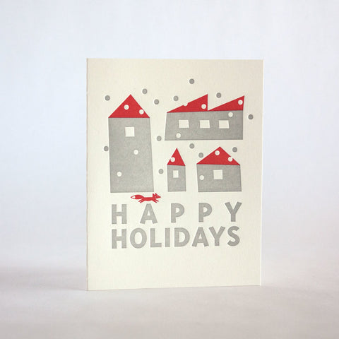 holiday houses with red fox 159 fugu fugu press letterpress card printed on recycled paper. inside of the card is blank. made in the usa