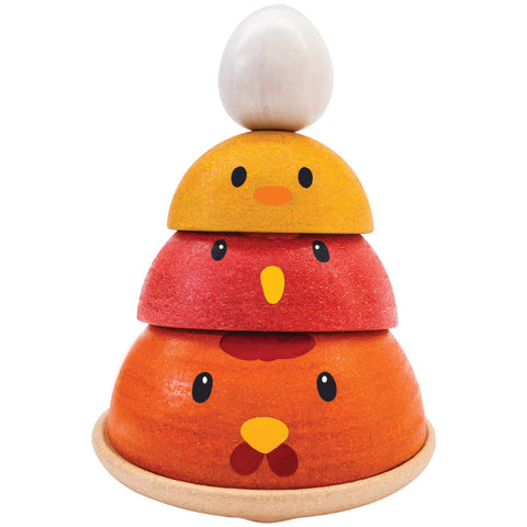 plan toys nesting chicken allows children to learn about the sequencing, life cycle of a chicken and play in various styles.
