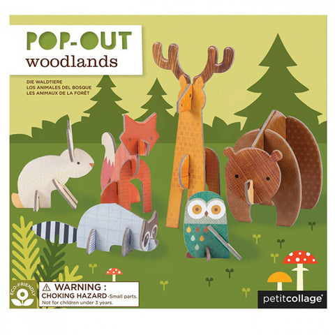 petit collage woodlands pop out sets made from thick, recycled sturdy board Brighten shelves, desks and tabletops.