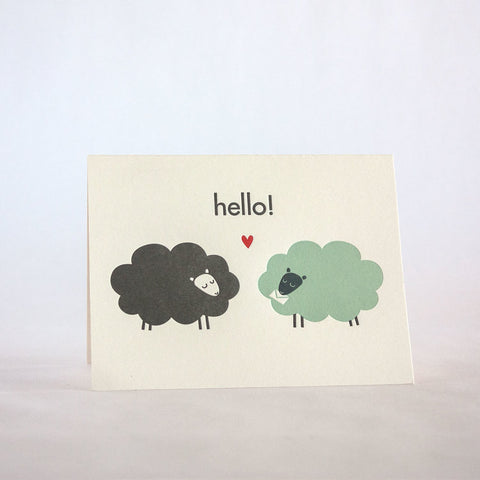 hello sheeps 200 fugu fugu press letterpress card printed on recycled paper. inside of the card is blank. made in the usa