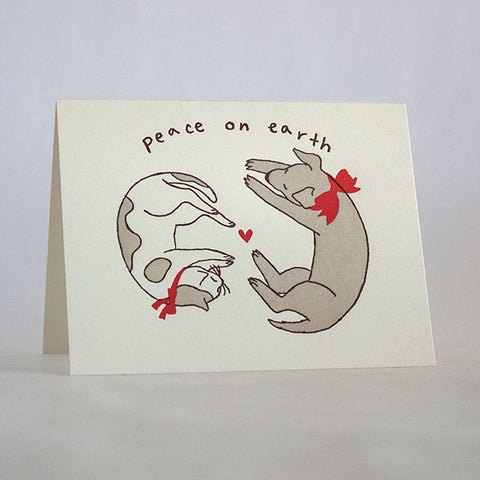 peace cat and dog 280b fugu fugu press letterpress card printed on recycled paper. inside of the card is blank. made in the usa