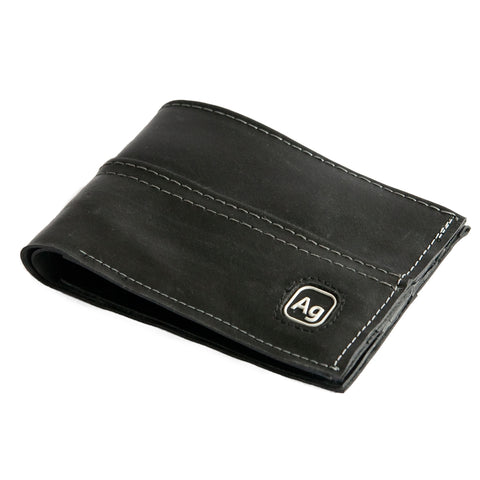 alchemy goods silver stitch franklin wallet is made from recycled inner tubes. made in the USA