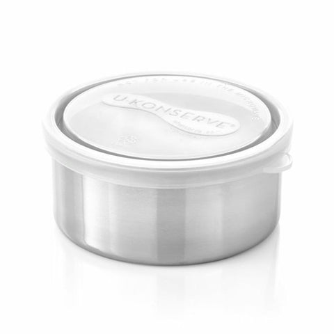 u-konserve lime round container medium are 5oz 18/8 food grade stainless steel food containers. BPA-free & dishwasher safe