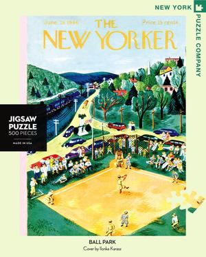 New York Puzzle Companys 500 piece jigsaw puzzle of the New Yorker cover ballpark. Made in the USA