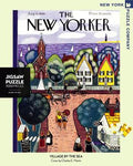 New York Puzzle Companys 1000 piece jigsaw puzzle of the New Yorker cover village by the sea. Made in the USA