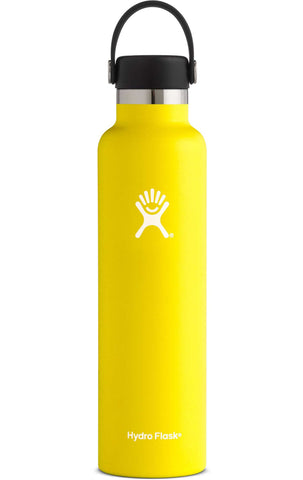 lemon 24 oz standard mouth hydro flask bottle keeps liquids cold for up to 24 hours and hot up to 6. bpa-free