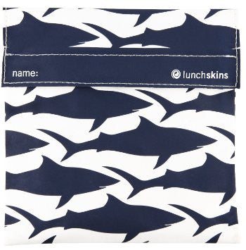 navy blue shark reusable sandwich/snack bag