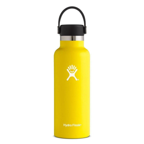 lemon 18 oz standard mouth hydro flask bottle keeps liquids cold for up to 24 hours and hot up to 6. bpa-free