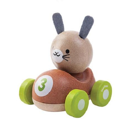 plan toys bunny racer 5680 animal themed wood racers perfect for little hands to hold and push