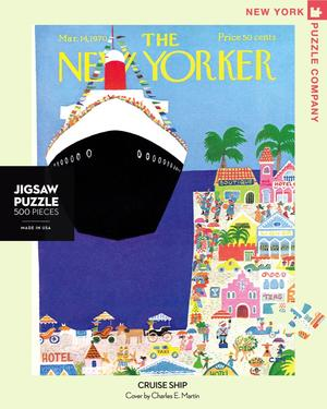 New York Puzzle Companys 500 piece jigsaw puzzle of the New Yorker cover cruise ship. Made in the USA