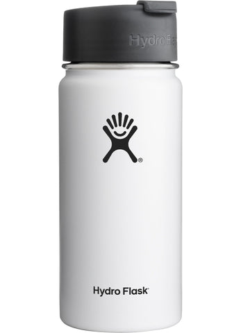 white 16 oz wide mouth hydro flask bottle keeps liquids cold for up to 24 hours and hot up to 6. bpa-free
