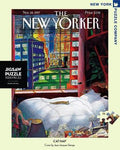 New York Puzzle Companys 1000 piece jigsaw puzzle of the New Yorker cover cat nap. Made in the USA