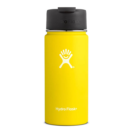 lemon 16 oz wide mouth hydro flask bottle keeps liquids cold for up to 24 hours and hot up to 6. bpa-free