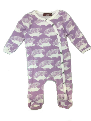 purple hedgehog organic cotton footed romper