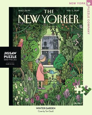 New York Puzzle Company's 500 piece jigsaw puzzle of the New Yorker cover Winter Garden. Made in the USA