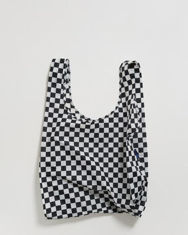 standard baggu black checkerboard reusable shopping bag holds up to 50lbs. made from 40% recycled ripstop nylon
