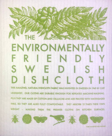 environmental swedish dishcloth:  biodegradable & compostable dishcloth made of 70% cellulose/30% cotton & water-based inks