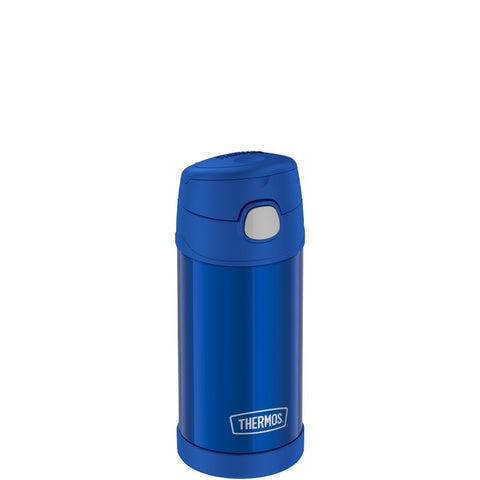 thermos funtainer stainless steel water bottle with straw 12oz blue is vacuum insulated to keep  cool for up to ten hours