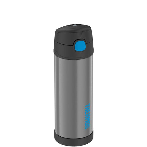 thermos funtainer charcoa-blue 16oz water bottle with spout is vacuum insulated to keep beverages cool for up to ten hours