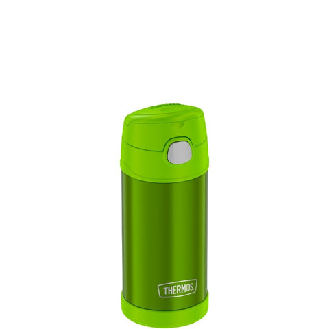 thermos funtainer stainless steel water bottle with straw 12oz lime is vacuum insulated to keep  cool for up to ten hours